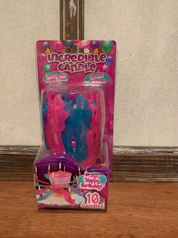 """Incredible Candle - Sings """"Happy Birthday"""" - Glitter Pink & Blue - 16 Candles"""