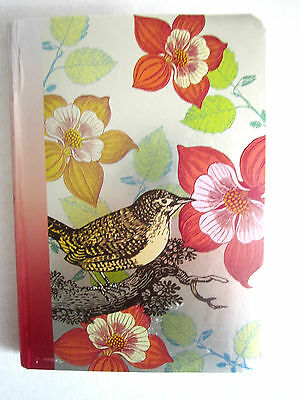 "Journal Beautiful Bird Tree Scene Gold Rule Pgs 6"" x 4"" x 1/4"" W/Elastic New!"