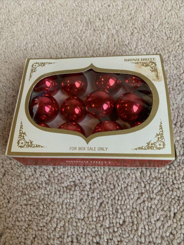 "VTG Lot 12 Red Mercury Glass Ornaments w/box 25 mm 1"" Mini Shiny Brite Japan"