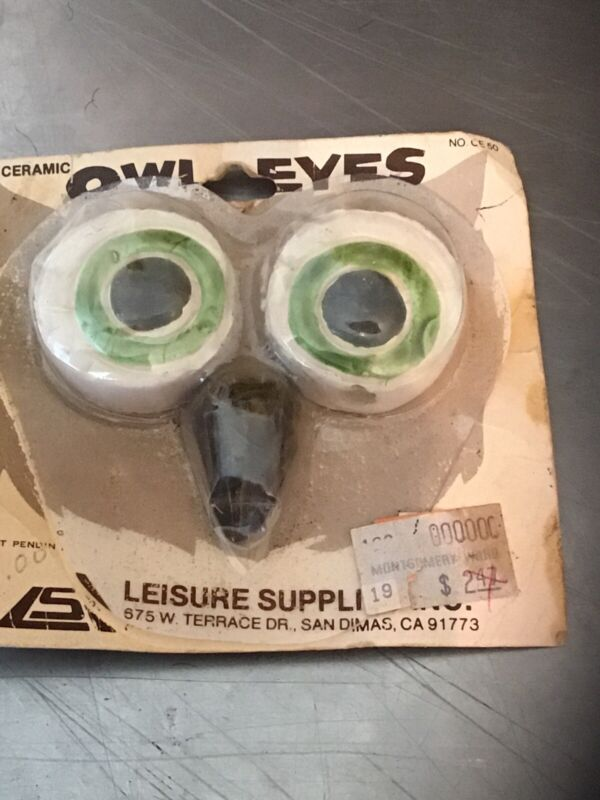 Vintage Owl Ceramic Beads, Green Eyes Beak Macrame Pottery Art