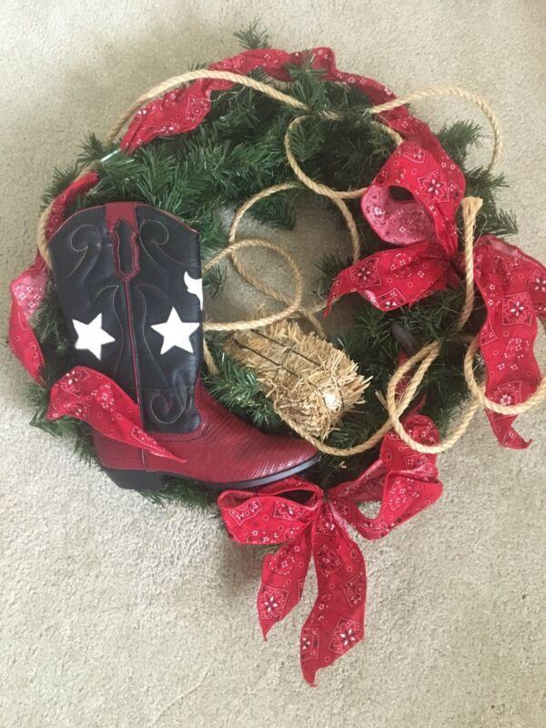 Western Country Cowboy Holiday Wreath