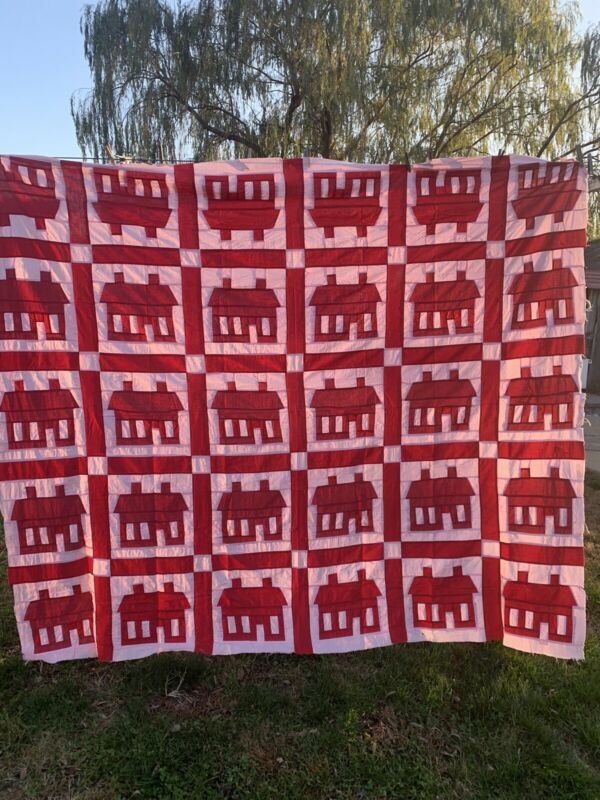 Vintage Red and Pink Schoolhouse School House Pattern Quilt Top