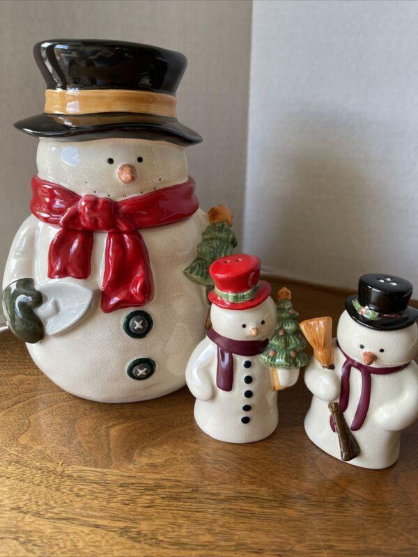 Russ Snowman Salt & Pepper Shaker Set Plus Cookie Jar, Older Set With Crazing