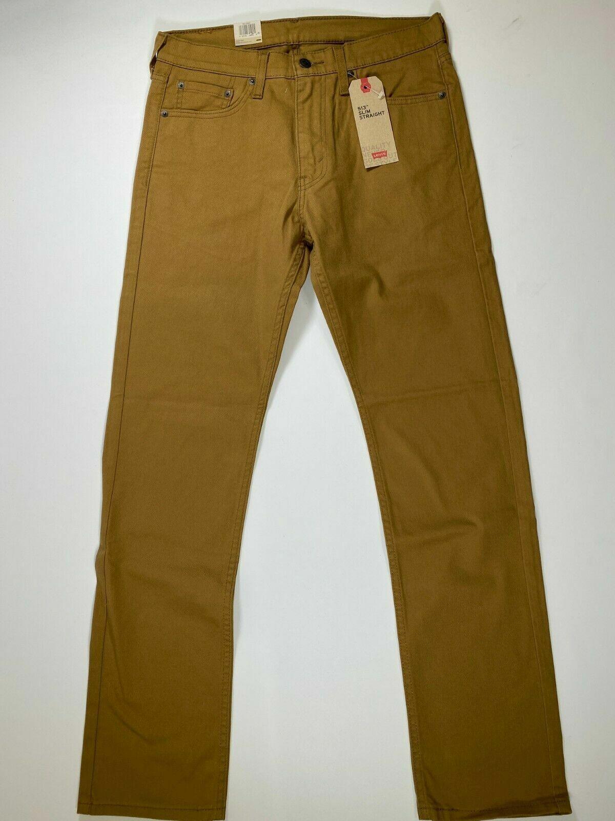 Mens Levis 513 Slim Straight Beige Denim Jeans 31x32 NEW! NW