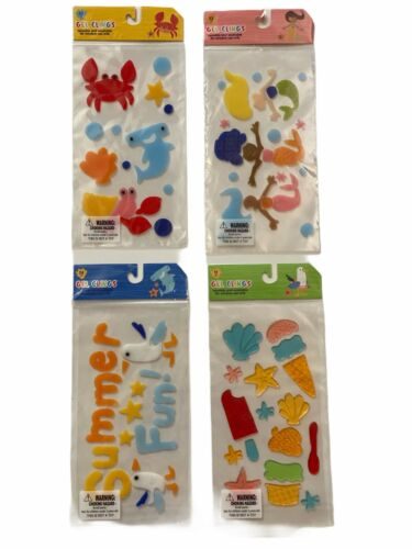 Gel Clings Summer Ocean Mermaid reusable and washable for window use only Set of