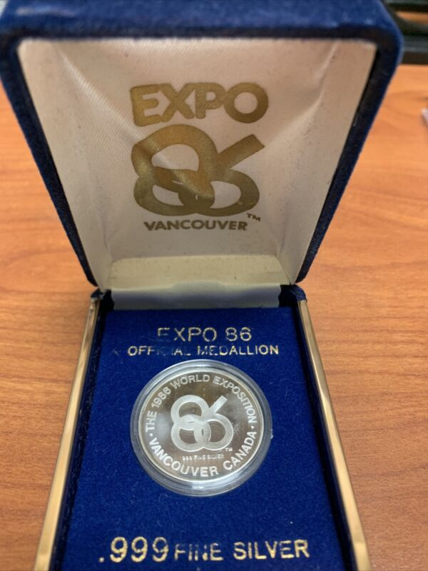 EXPO 86 Vancouver World Exposition Official Medallion BC Coin .999 Fine Silver