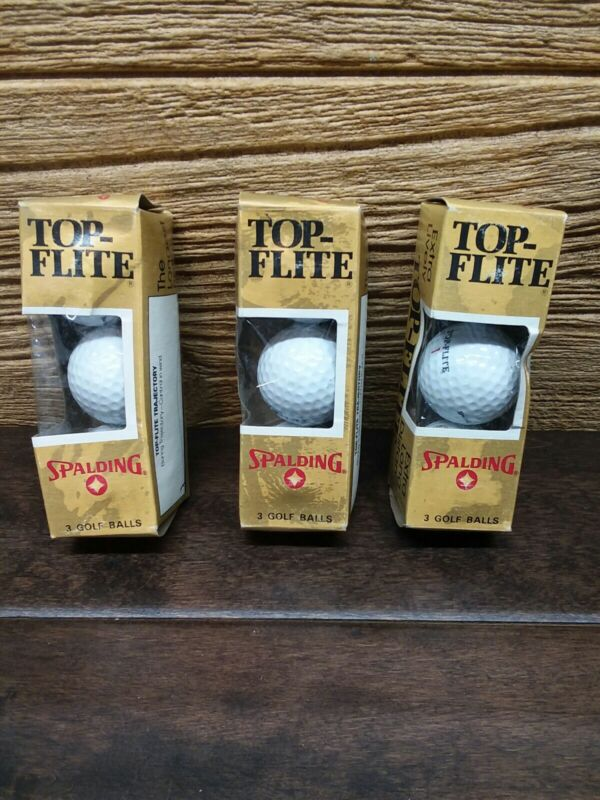 3x Vintage Spalding Top-flite 9 Balls Extra Lively Extra Long Distance NOS