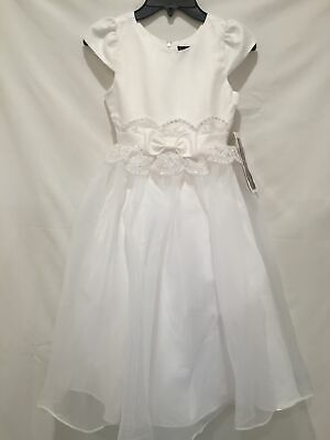 Chantilly Place NWT Girls size 7 White Formal Dress Communion Flower Girl -