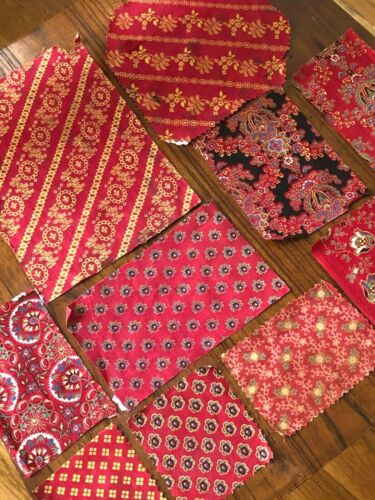 11 French antique cotton 19th c. Turkey Red sample fabrics