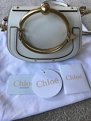 Chloe SS17 Spring 2017 Nile Small Bracelet Leather Crossbody Bag Off White