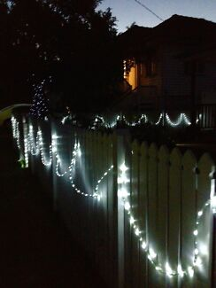 LED mains powered cool white outdoor string lights