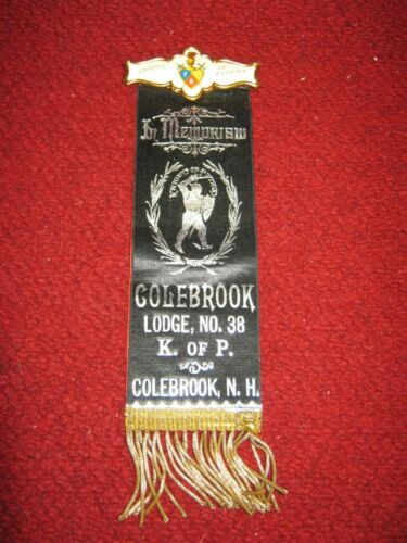 Antique Fraternal  Knights of Pythias Memorial Ribbon Colebrook, NH Lodge No. 38