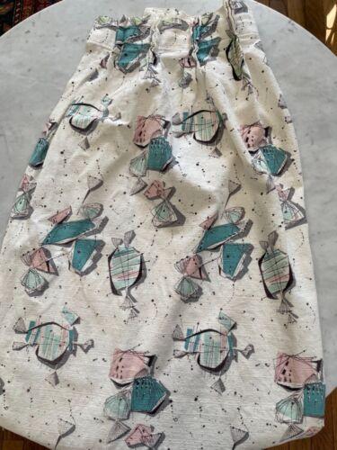 Vintage 1950s Barkcloth Fabric Mid Century Modern Curtain Bark Cloth Pink Aqua