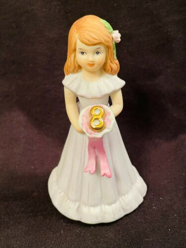 Birthday Growing Up Girls Age 8 Brunette Porcelain Figurine Enesco 1982 Vintage