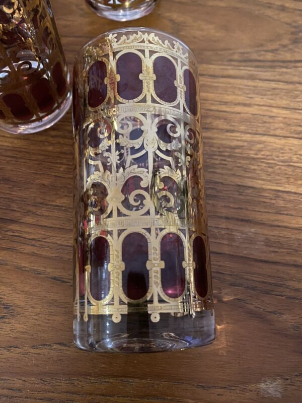 Vintage CULVER Red SCROLL 22K Gold Highball Cocktail Glasses Mid Century
