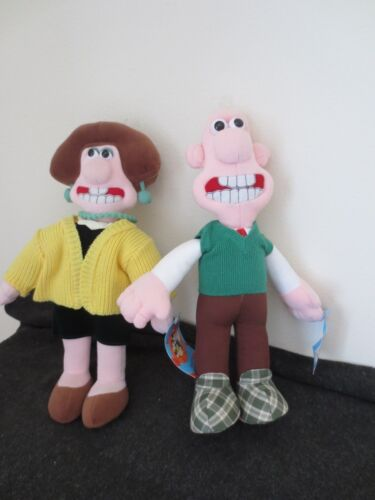 Wallace & Gromit Lot of 2 Plush Wallace &  Wendolene 1989 Aardman Stuffed Doll