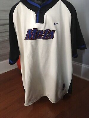 NEW YORK METS NIKE TEAM BASEBALL JERSEY One Button Sweat Shirt  MEN'S  XL Nice!! Baseball-jersey Sweatshirt
