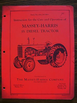 Massey Harris 55 Diesel Owners Manual