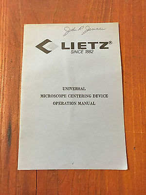 Lietz Universal Microscope Centering Device Operation Manual