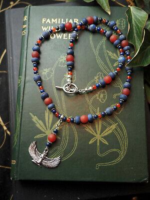 Isis, Lapis & Carnelian Ritual Necklace - Witchcraft, Pagan, Goddess, Egyptian (Goddess Carnelian Necklace)