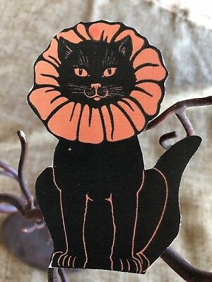 Repro 1920's Vintage Cat Red Ruffle Collar Halloween Mini Scrap Decoration, 8