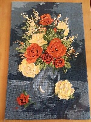Vase of Flowers - Red & Yellow Roses Completed Wool Tapestry Penelope 48 x 31cm