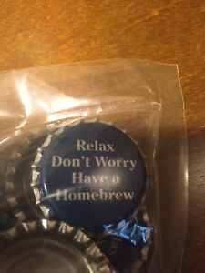 """100 Bottle Caps - """"Relax, Don't Worry, Have A Homebrew"""""""