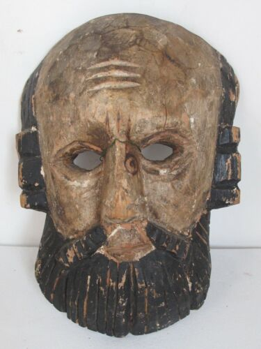 Vintage Conquistador Hand Carved Wood Dance Mask  Guatemalan or Mexican c.1940
