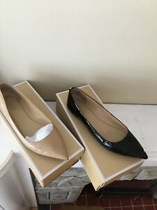 Michael Kors 2 pairs beige and black patent leather flats 10