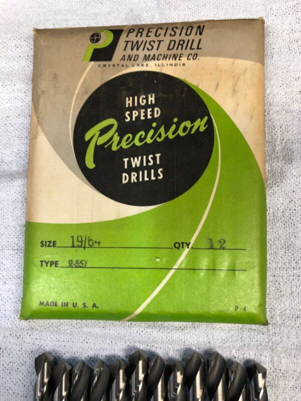 """Drill Bits 19/64"""" = .297 Brand New Vintage Stock - 12 Pack by Precision Drills"""
