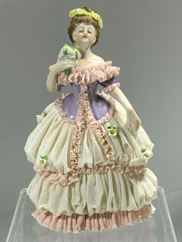 "Very Rare 19th Dresden VOLKSTEDT Porcelain Lace Figurine ""Countess in Court"""