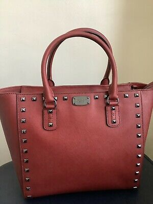 Michael Kors Red Studded Tote Bag With Shoulder Strap Saffiano Handbag