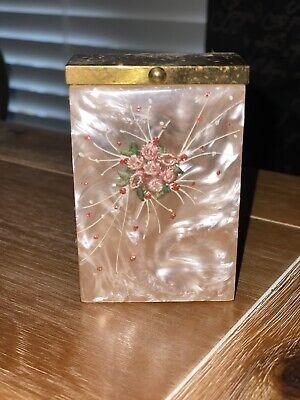 Vintage Pink Floral Brass Cigarette Tobacco Case Box Holder