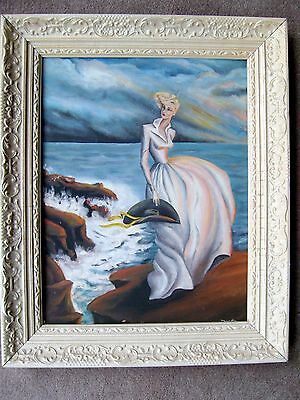 Vintage Framed Oil Painting Romantic Seascape & Woman