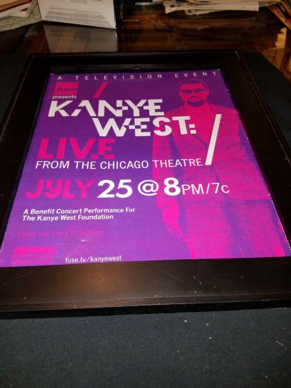 Kanye West Live Chicago Theatre FUSE TV Rare Original Promo Poster Ad Framed!