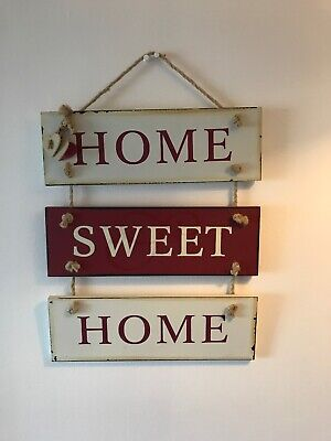 Home Decor Wall Hanging Plaque, Red And Cream ' Home Sweet Home'