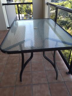 Outdoor Glass Top Table Alexandra Headland Maroochydore Area Preview
