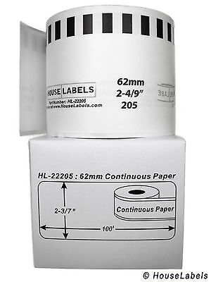Non-oem Fits Brother Dk-2205 Continuous Thermal Labels - 1 Roll Of 100