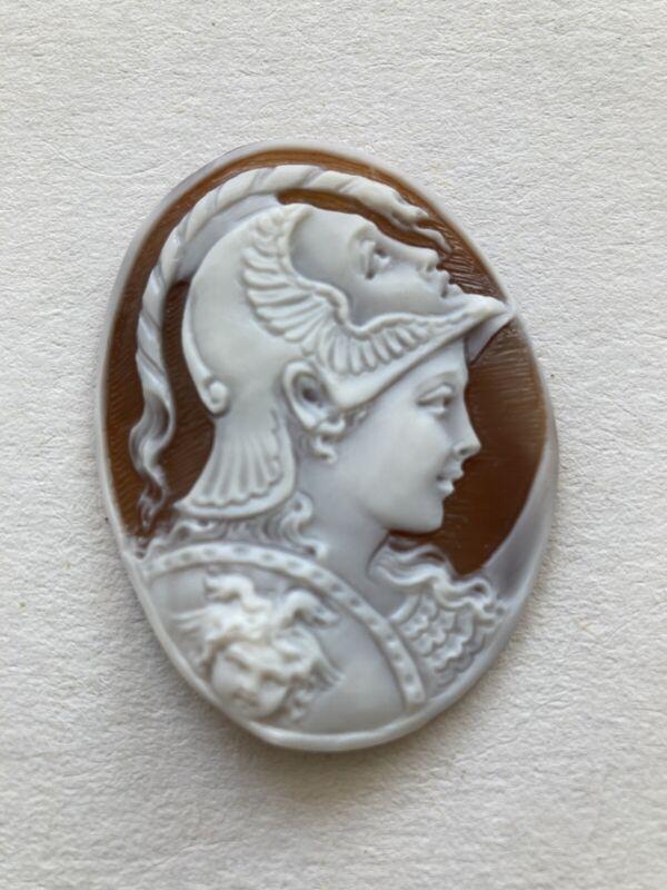 "BEAUTIFUL SHELL CAMEO  MITHOLOGICAL HANDMADE PROFILE ""ATHENA """