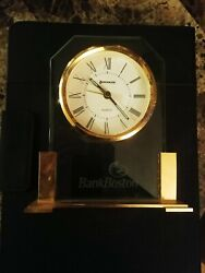 Bank of Boston Brass Desk Clock by Benchmark 9 German Movement Vintage 90s