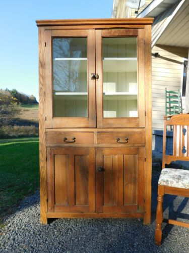 "Primitive Oak Central PA Farm Pie Safe 15""D Flat Wall Kitchen Cupboard Cabinet"