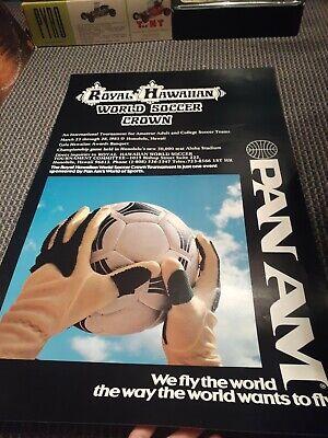 Vintage 1981 pan am royal Hawaiian World Soccer crown advertising poster! Rare!