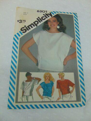 Simplicity Misses Pullover Top w/ Side Tucks Pattern #6301 Sz 6 UNCUT Vintage