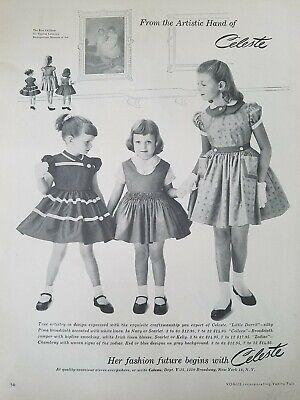 1955 Celeste Mädchen Kleider Kleine Dorrit Stil Vintage Mode Anzeige