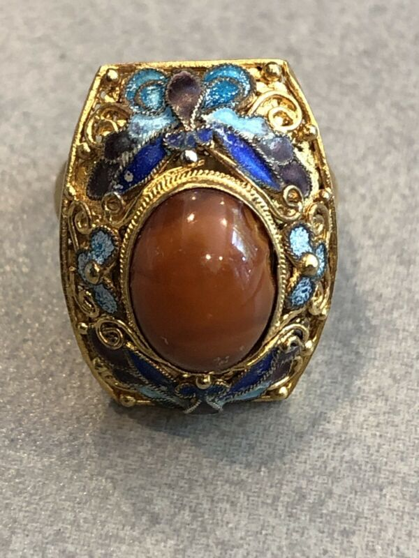 Vintage Chinese Kingfisher Feather Ring with Agate Stone and Gold Accents