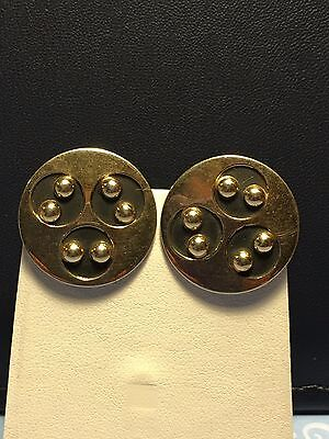 Vintage Round Black & Gold Tone Cufflinks Jewelry Lot CL-66