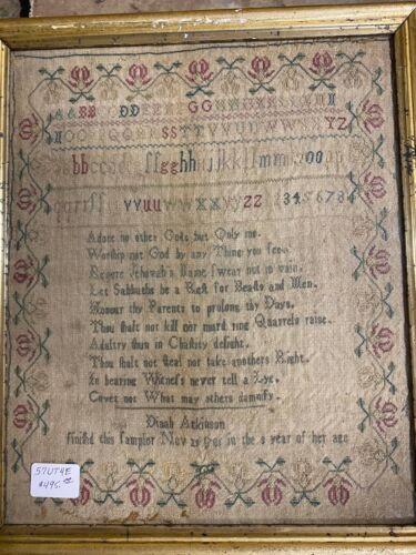 Traditional Sampler dated 1781 Signed Dinah Atkinson