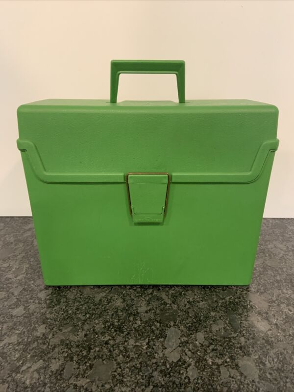 1970s Vintage Sterling Plastics Green Plastic File Box With Handle and Latch