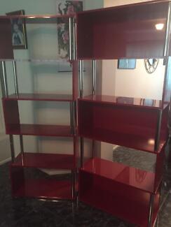 Two Red modern high gloss shelving units