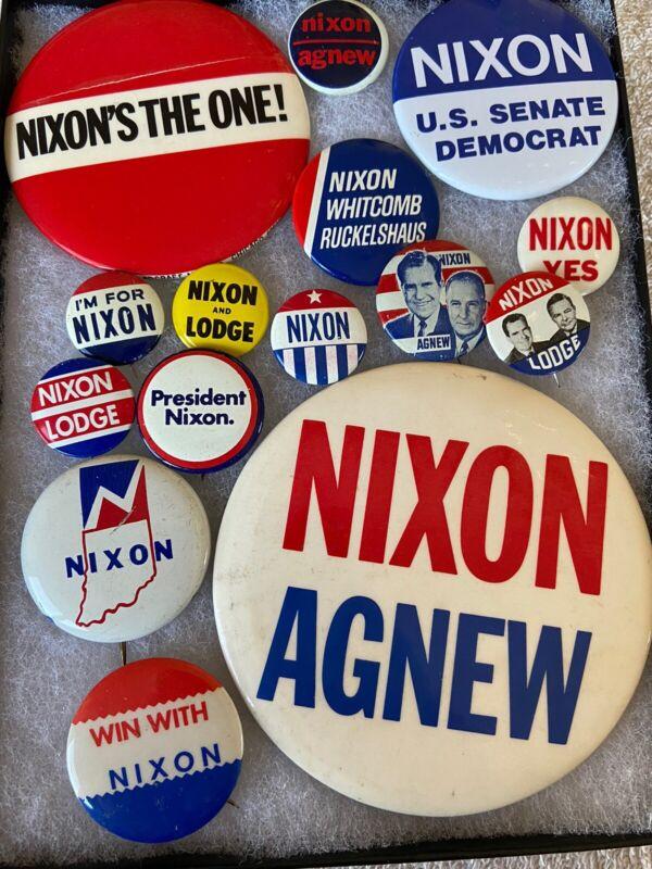 Lot of 15 Richard Dick Nixon Presidential Political Campaign Buttons Pinbacks C7